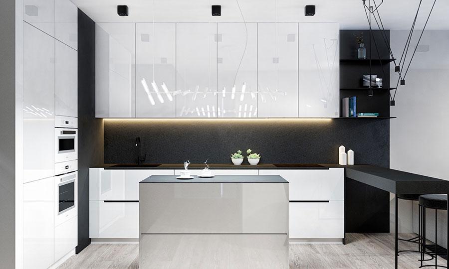 Modello di cucina bianca e nera di design n.03