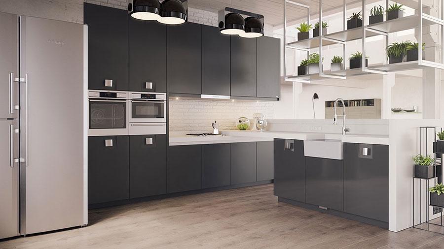 Modello di cucina bianca e nera di design n.04