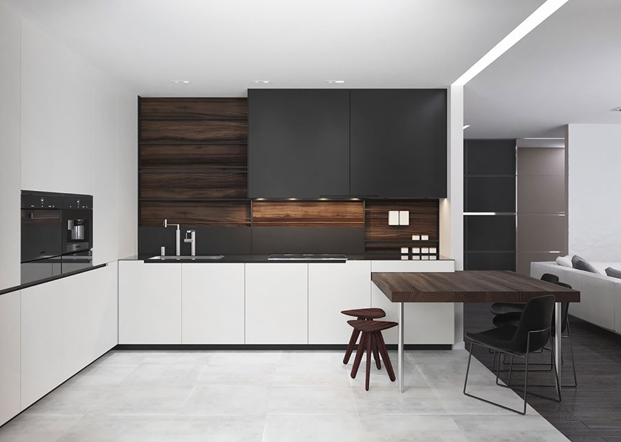 Modello di cucina bianca e nera di design n.05