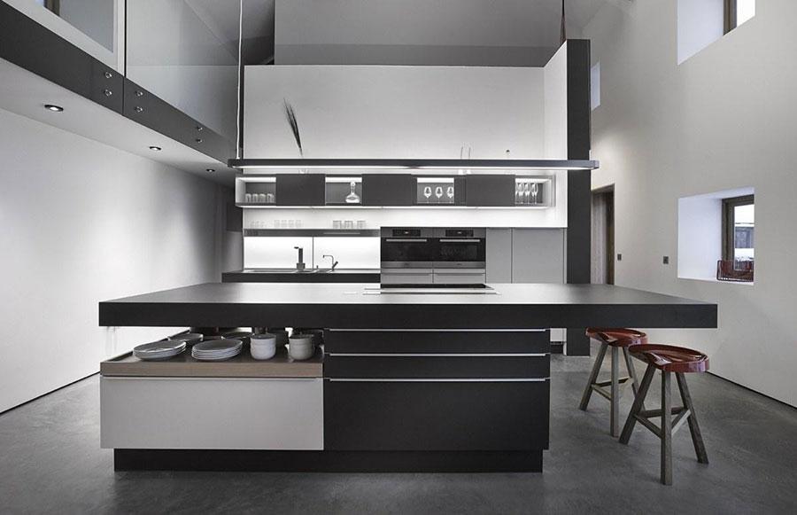 Modello di cucina bianca e nera di design n.06