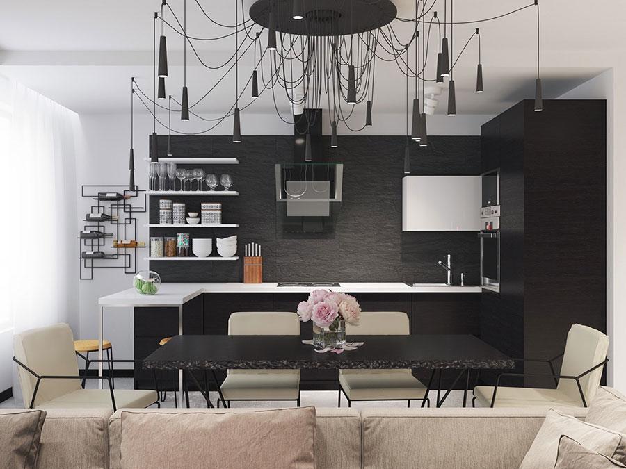 Modello di cucina bianca e nera di design n.07