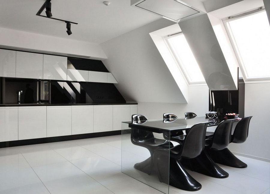 Modello di cucina bianca e nera di design n.08