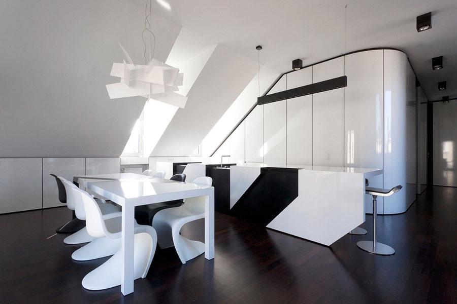 Modello di cucina bianca e nera di design n.09