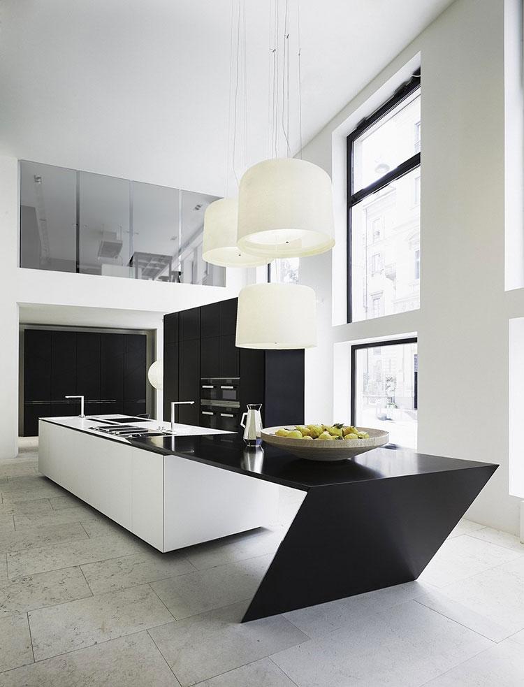 Modello di cucina bianca e nera di design n.10
