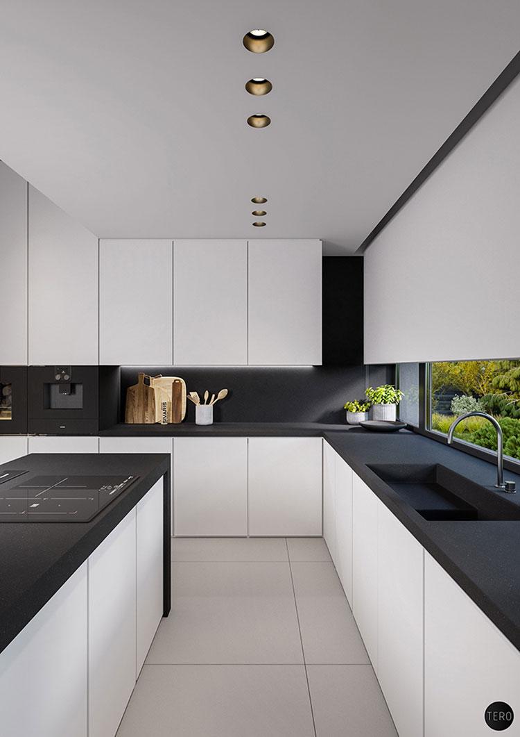 Modello di cucina bianca e nera di design n.15