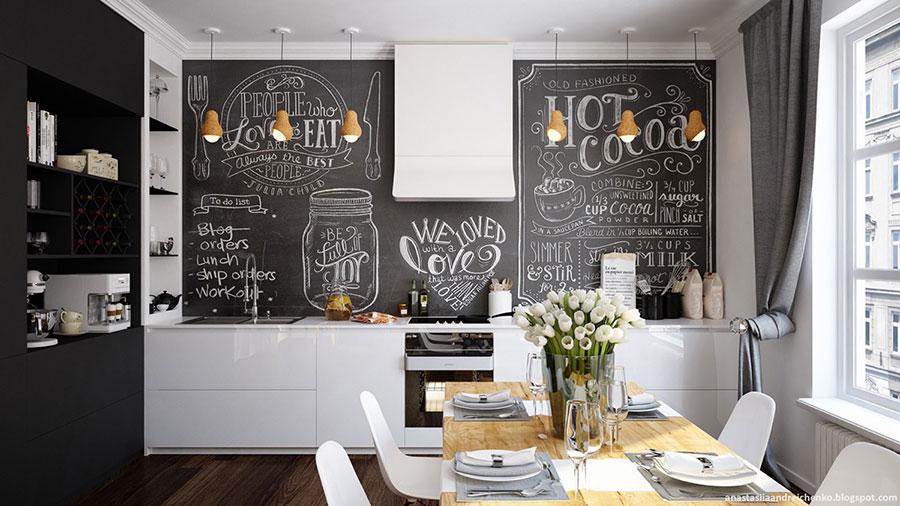 Modello di cucina bianca e nera di design n.16