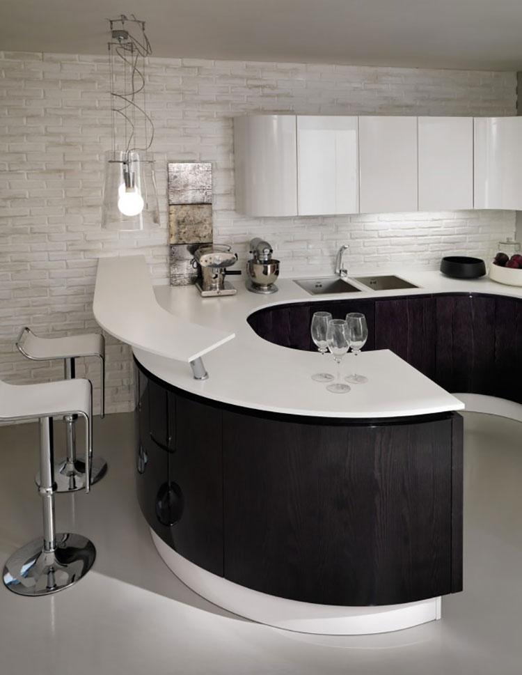 Modello di cucina bianca e nera di design n.17