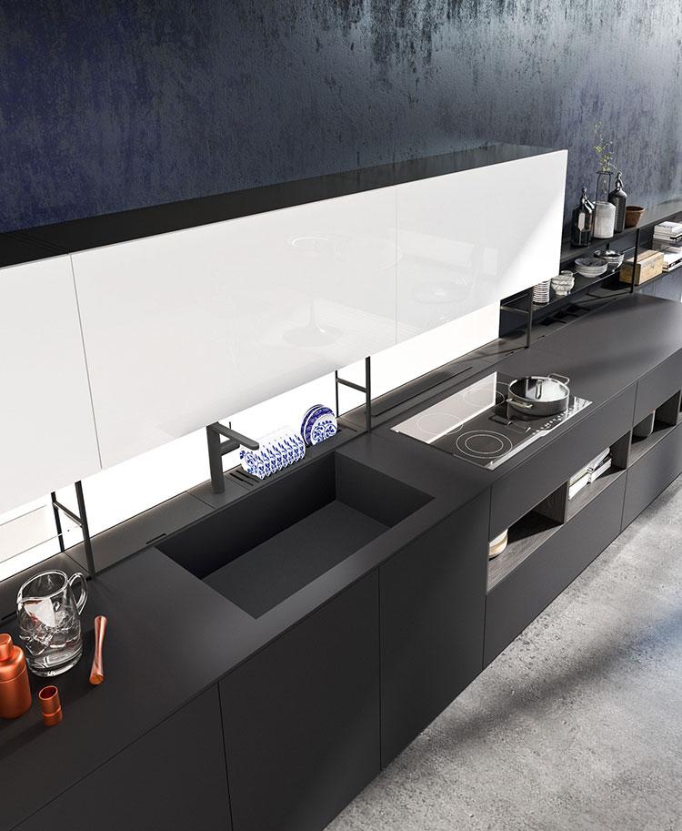 Modello di cucina bianca e nera di design n.18