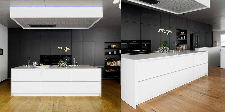 Modello di cucina bianca e nera di design n.19