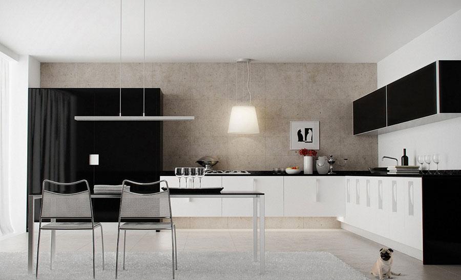 Modello di cucina bianca e nera di design n.20