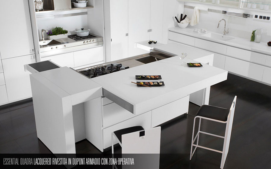 Modello di cucina bianca moderna n.08