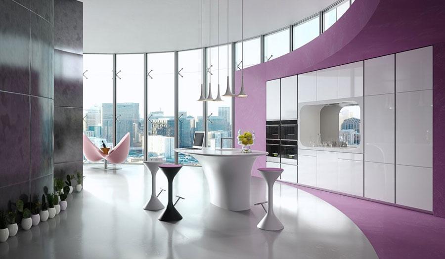 Pareti rosa per cucine moderne 01