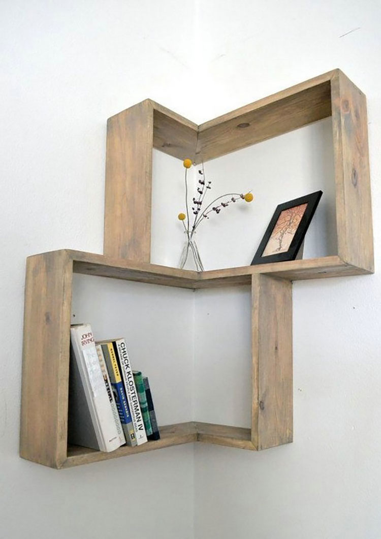 Modello di mensola in legno fai da te in legno n.07