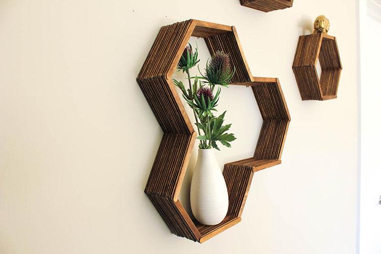 Modello di mensola in legno fai da te in legno n.09