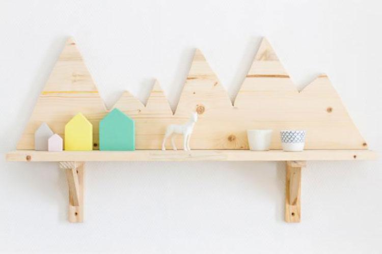 Modello di mensola in legno fai da te in legno n.19