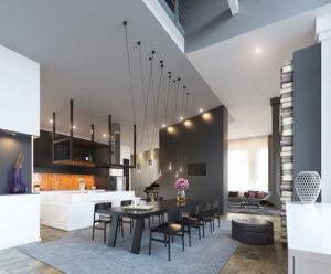 Sala Da Pranzo Moderna Bianca E Nera  bekasi 2022