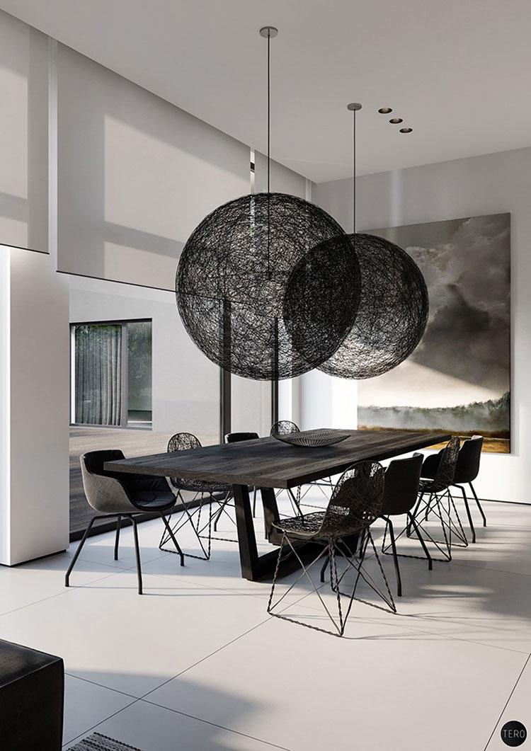 Sala da pranzo bianca e nera 25 idee per un arredamento - Quadri per sala da pranzo ...