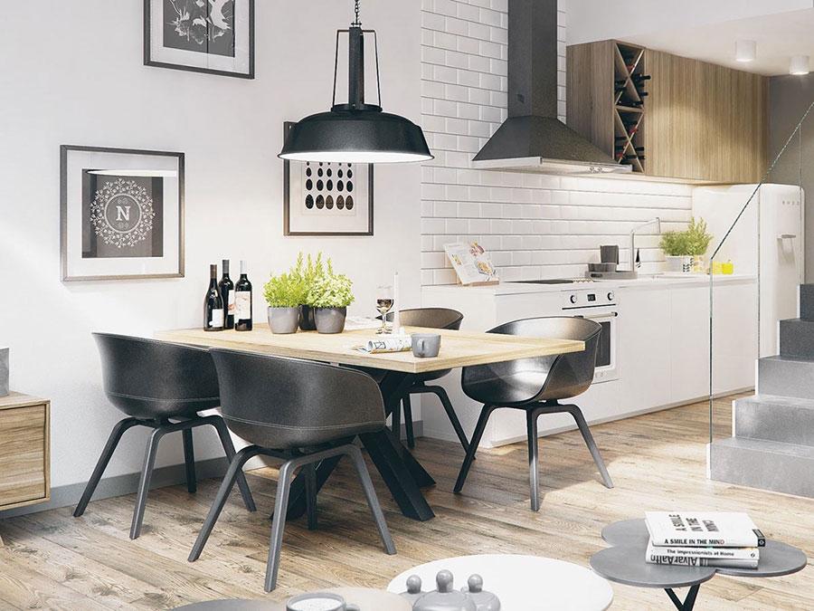 Sala da pranzo bianca e nera 25 idee per un arredamento chic - Arredamento sala ...