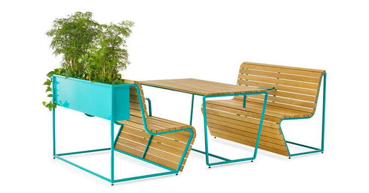 Set tavolo e sedie da giardino dal design particolare n.05