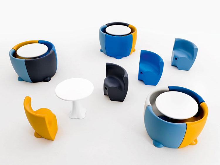 Set tavolo e sedie da giardino dal design particolare n.13