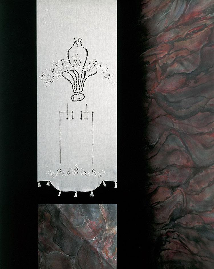 Modello di tenda shabby chic per bagno n.03
