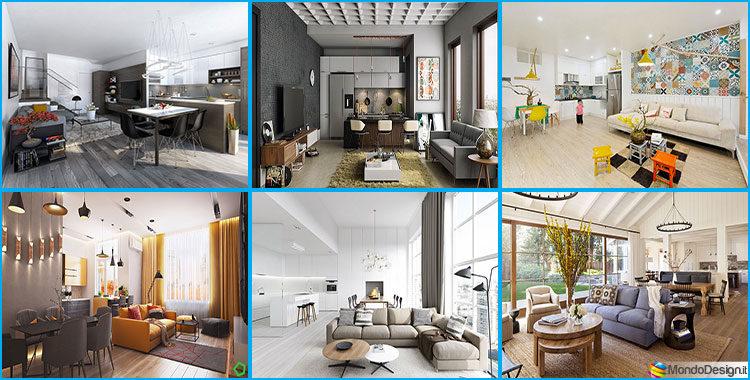 Come arredare open space cucina soggiorno ecco 40 idee fotografiche - Arredare cucina piccola rettangolare ...