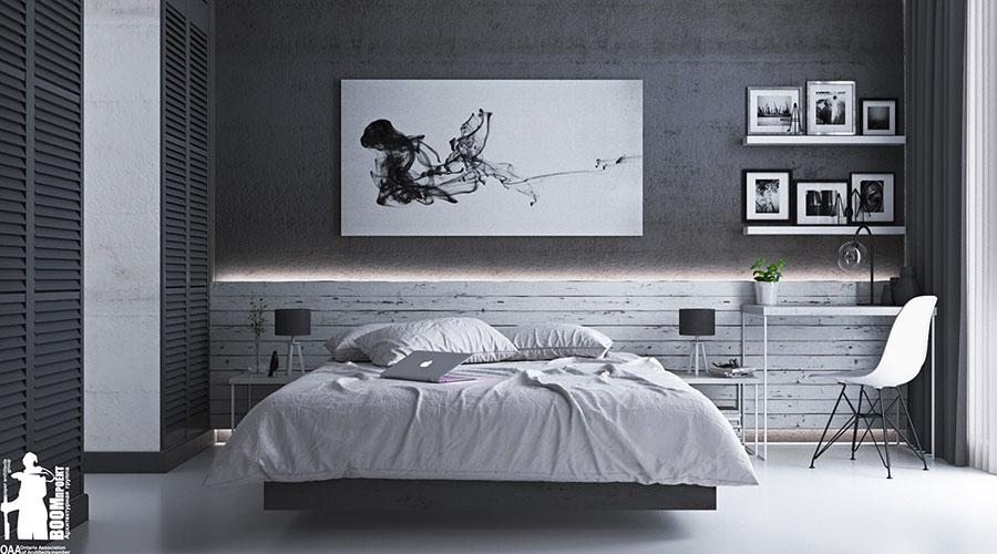 Idee per arredare una camera da letto grigia n.03