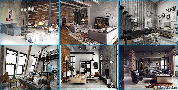 23 idee per arredare il soggiorno in stile industriale - Idee per soggiorni ...