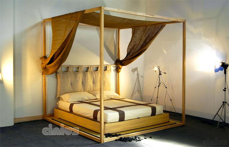 Modello di letto a baldacchino dal design moderno n.05