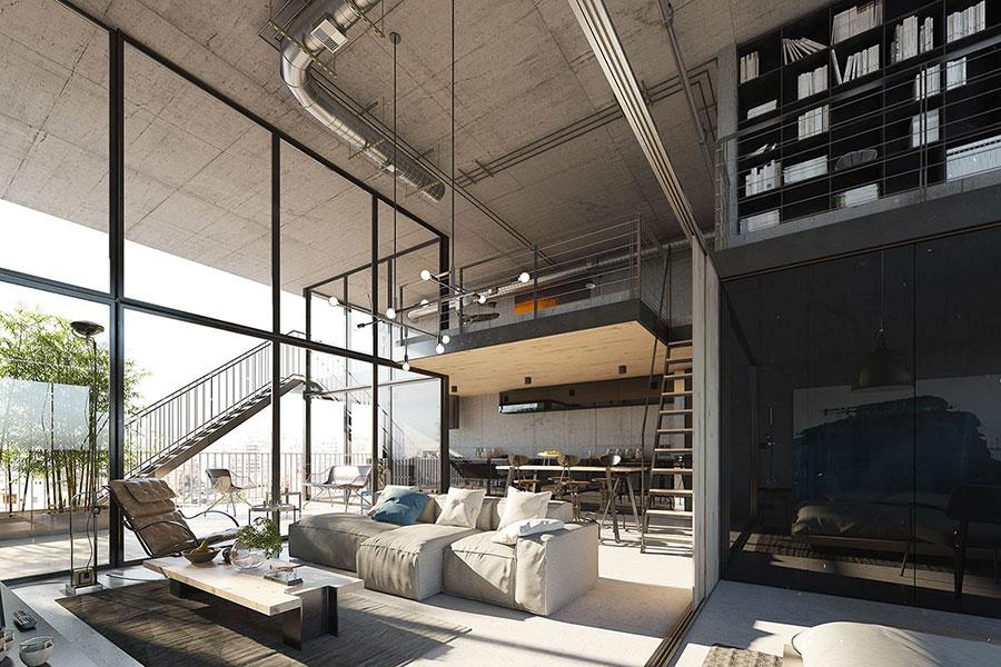 Idee per arredare un open space cucina soggiorno in stile industriale n.01