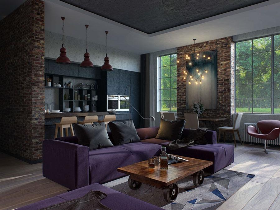 Idee per arredare un open space cucina soggiorno in stile industriale n.06