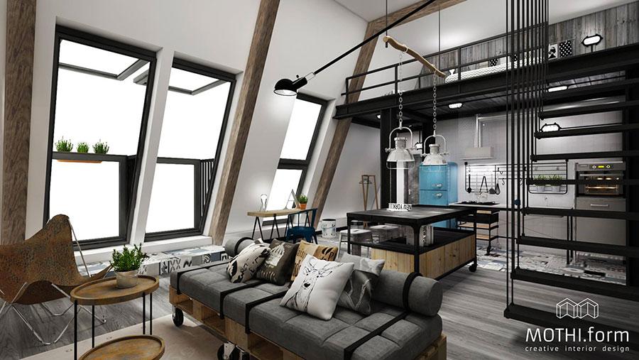 Idee per arredare un open space cucina soggiorno in stile industriale n.07