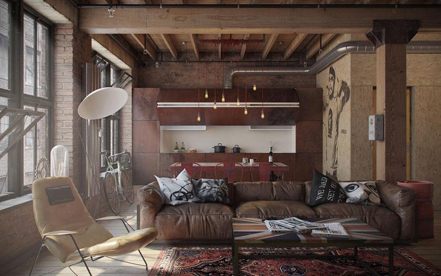 Idee per arredare un open space cucina soggiorno in stile industriale n.08