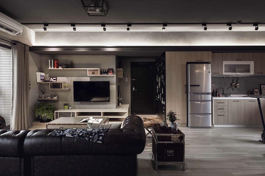 Idee per arredare un open space cucina soggiorno in stile industriale n.10