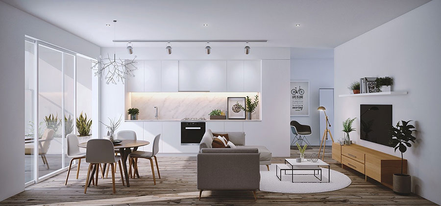Come arredare open space cucina soggiorno ecco 40 idee for Pavimenti per cucina e soggiorno