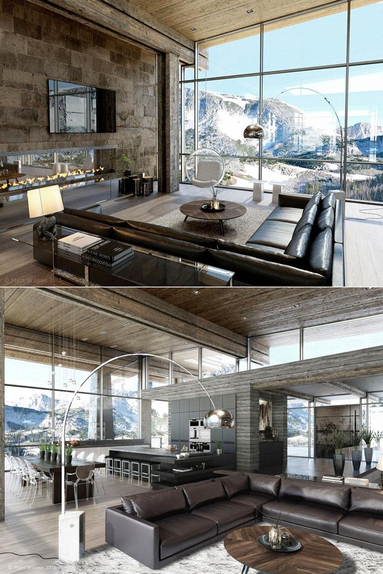 Idee per arredare un open space cucina soggiorno in stile rustico n.01
