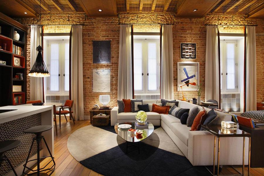 Idee per arredare un open space cucina soggiorno in stile rustico n.04