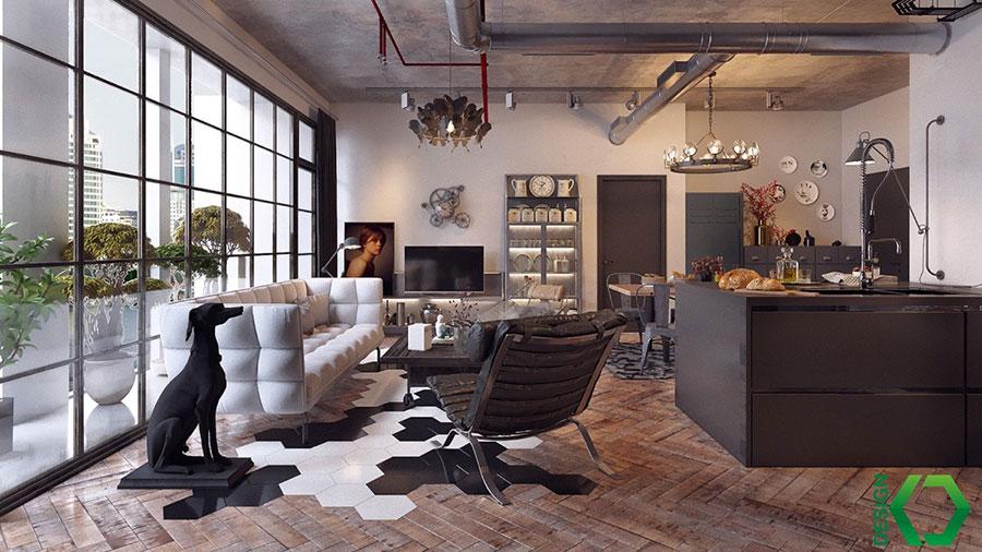 Idee per arredare un open space cucina soggiorno in stile rustico n.05