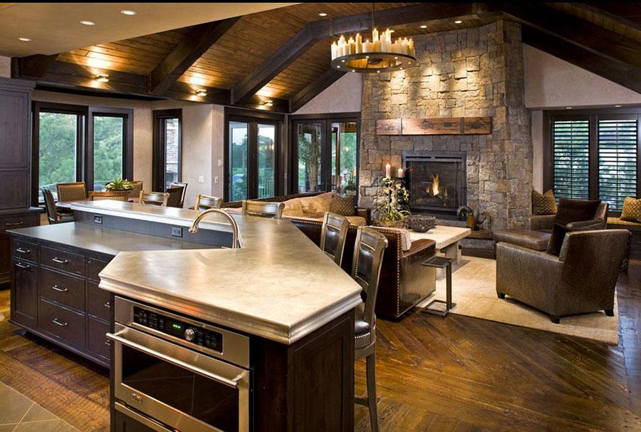 Idee per arredare un open space cucina soggiorno in stile rustico n.08