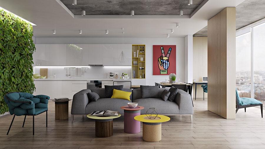Idee per arredare un open space cucina soggiorno in stile vintage n.01