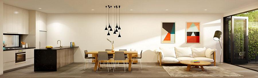 Idee per arredare un open space cucina soggiorno in stile vintage n.06