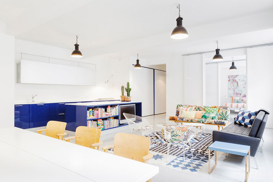 Idee per arredare un open space cucina soggiorno in stile vintage n.07