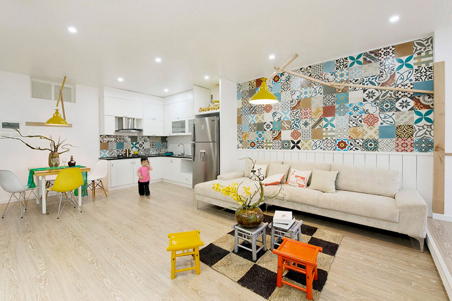 Idee per arredare un open space cucina soggiorno in stile vintage n.08