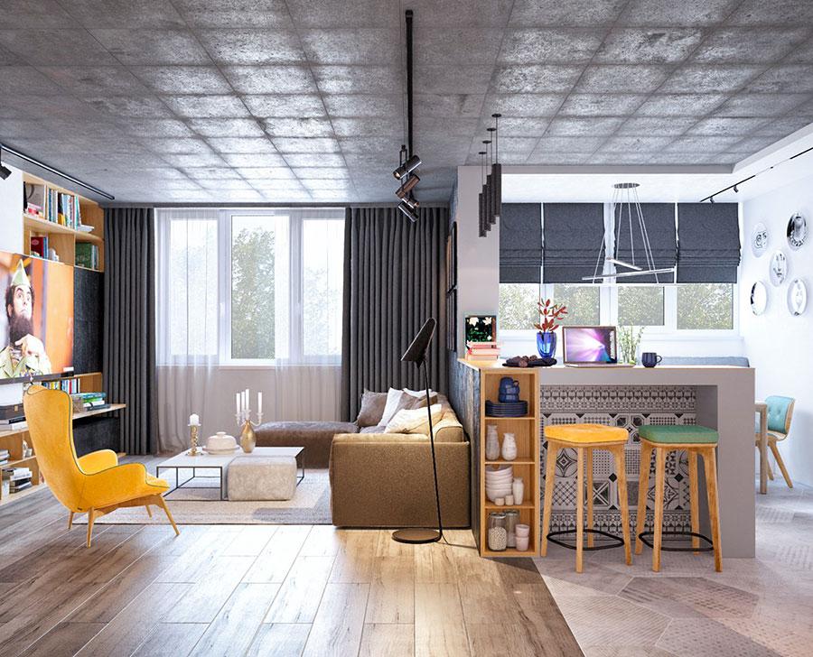 Idee per arredare un open space cucina soggiorno in stile vintage n.09