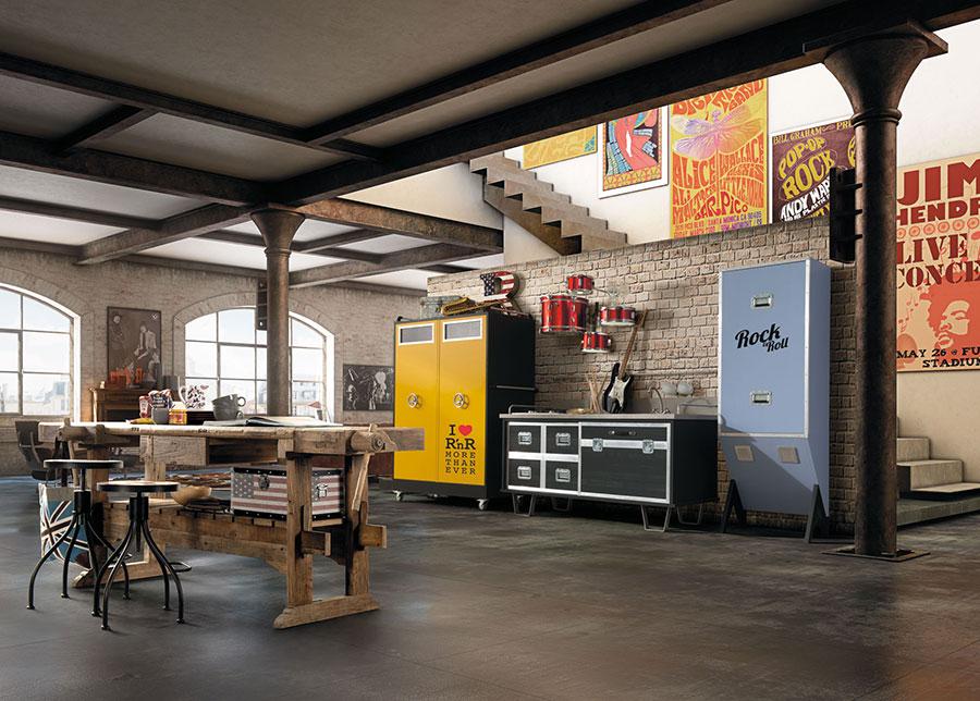 Idee per arredare un open space cucina soggiorno in stile vintage n.10