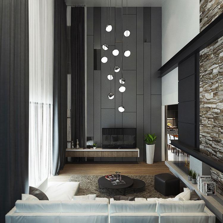 Idee per le pareti del soggiorno grigio n.05