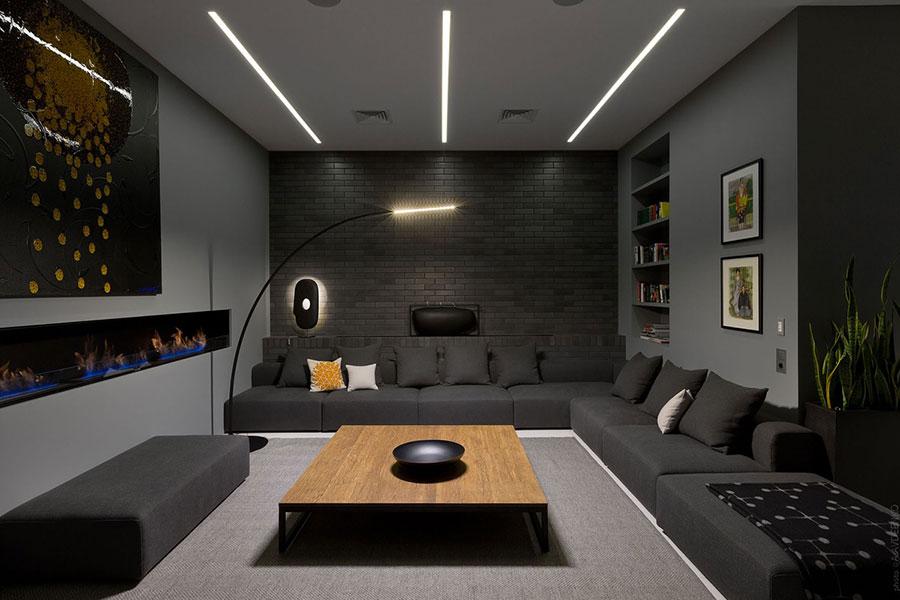 Idee per le pareti del soggiorno grigio n.07
