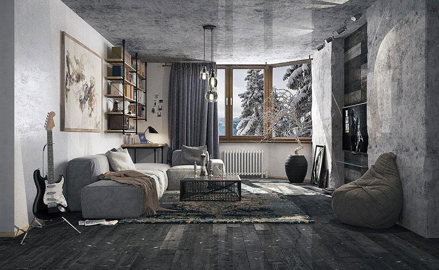Idee per le pareti del soggiorno grigio n.08