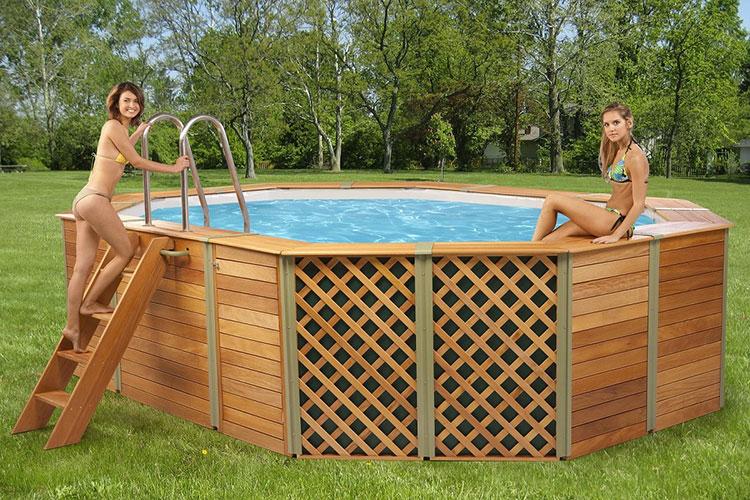 Modello di piscina fuori terra in legno n.01
