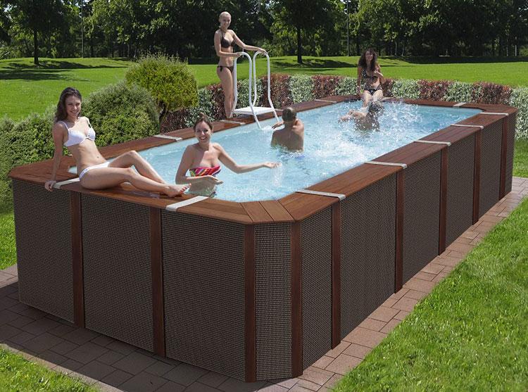 Modello di piscina fuori terra in legno n.03